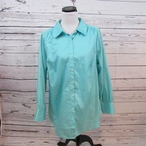 Avenue turquoise The Bedford herringbone top